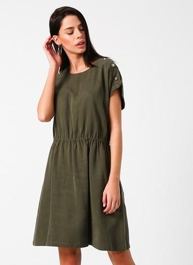 Fabrika Kısa Kollu Beli Büzgülü Elbise Haki